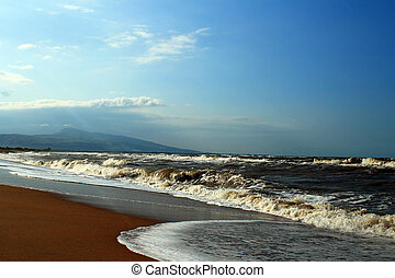 Caspian sea - The shore of the Caspian sea, the broken...