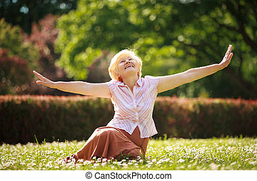 Gladness Meditation Mature Pleased Woman Relaxing with...