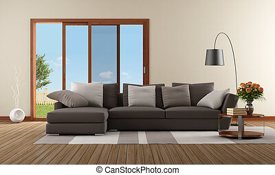 Modern living room with brown sofa and sliding window -...