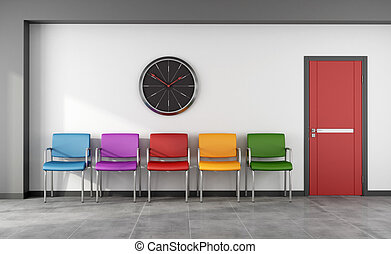 Colorful waiting room - Waiting room with colorful chair and...