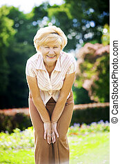 Vitality Independent Gracious Old Woman Granny having Fun