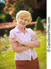 Certitude. Confident Trendy Senior Woman Pensioner with...
