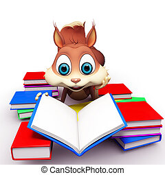 Squirrel doing study with colorful book