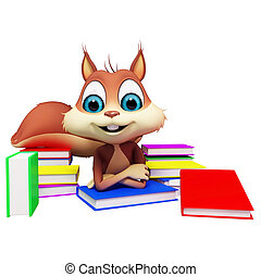 Squirrel is studying with colorful book