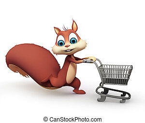 Squirrel with trolley - Squirrel with shopping trolley