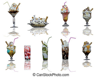 Ice Cream - Assorted ice cream cups with reflection on with...