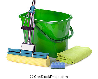 Bucket and mop isolated on white background.