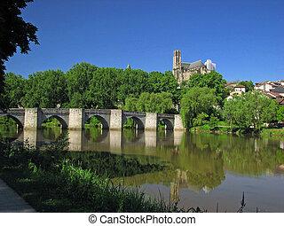 Roman Bridge - Limoges City, Southwest of France,...