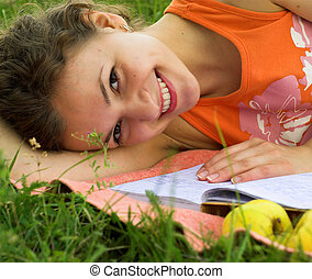 Studying - Young female student is preparing for exam....