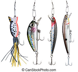 Fishing baits. - Fishing baits isolated on white background....