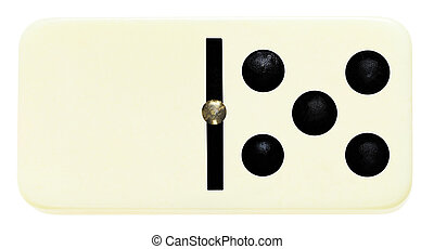 one domino tile on isolated on white - blank five domino...