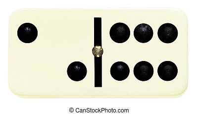 one domino tile on isolated on white - one blank domino tile...