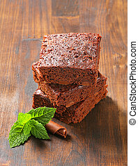 Chocolate Chip Brownies - Pile of Fudgy Chocolate Chip...