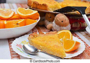 Lemon and almond pie - Piece of Lemon and almond pie on...