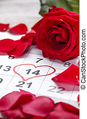 Calendar showing the date 14th of February, the Valentines...