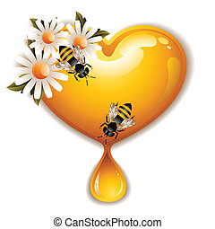 Honey Heart Icon - Vector illustration of a cute honey heart...