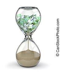 Euro, reloj de arena, dinero, inflación, tiempo