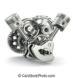 Engine concept. Gears and pistons. - Engine concept. Gears...