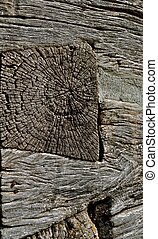 Weathered Dovetail Log Cabin Joint - A hewn timber has a...