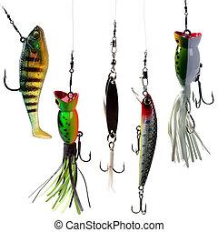 fishing baits - Fishing baits isolated on white background....