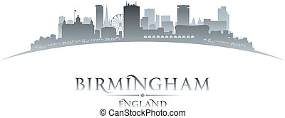 Birmingham England city skyline silhouette white background...