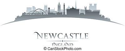 Newcastle, inglaterra, ciudad, contorno, silueta, blanco,...