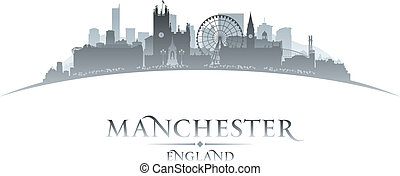 Manchester England city skyline silhouette white background...