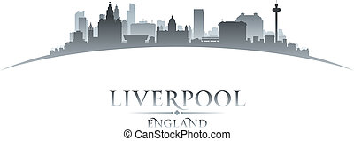 Liverpool England city skyline silhouette white background -...