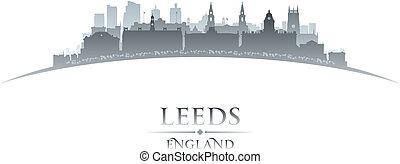 ciudad, silueta, contorno, Leeds, Plano de fondo,...