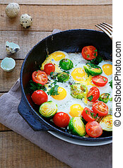 healthy and nutritious breakfast - fried eggs with...