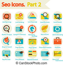 SEO Icon set part 2 - Flat design modern vector illustration...
