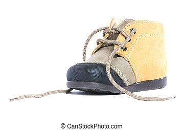 Untied baby shoe - Untied baby boot isolated on white...