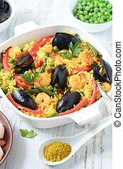 español, mariscos, paella