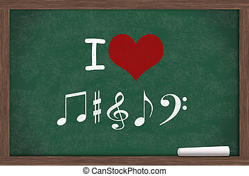 I love Music, I heart with music note symbols written on a...