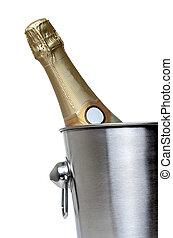 Bottle of champagne in bucket