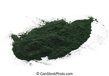 Spirulina powder isolated on white