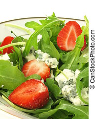 Gorgonzola in salad - Gorgonzola cheese in spinach and...