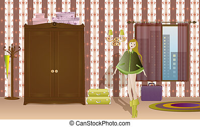 Girl in Bedroom - Illustration of a young girl inside the...