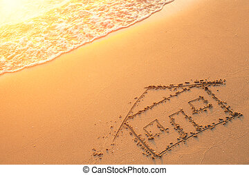 House painted on beach sand