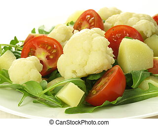 Cauliflower salad - Closeup of salad with cauliflower,...