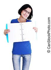 婦女, 她, 顯示, 年輕, 筆記本, 空白, 頁
