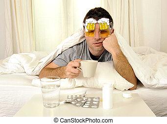 homem, dor de cabeça, ressaca, cama, tabuletas