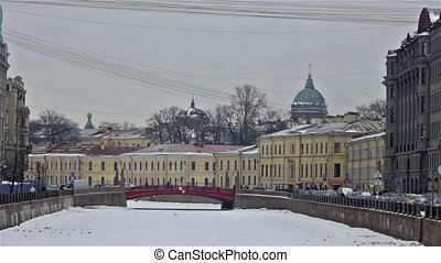 Moyka river embankment and Red Bridge, Saint Petersburg -...