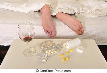 ressaca, dormir, pés, sofrimento, cama, homem, dor de cabeça