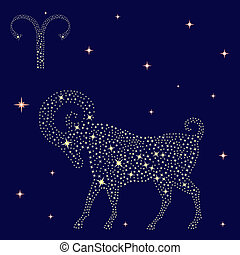 Zodiac sign Aries on the starry sky - Zodiac sign Aries on a...