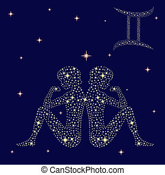 Zodiac sign Gemini on the starry sky - Zodiac sign Gemini on...
