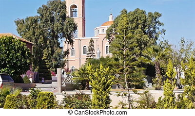 Pink building of Saint Peter's orthodox church in old Jaffa,...