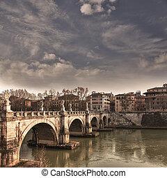 Saint Angelo bridge Rome - View of the bridges over the...