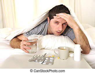 dor de cabeça, tabuletas, cama, ressaca, homem