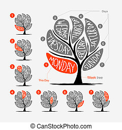 Art tree design with 7 petal days of week